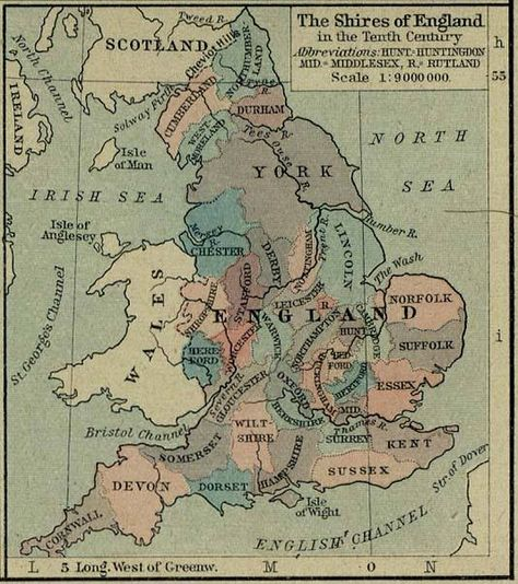 English Shires in the 10th Century
