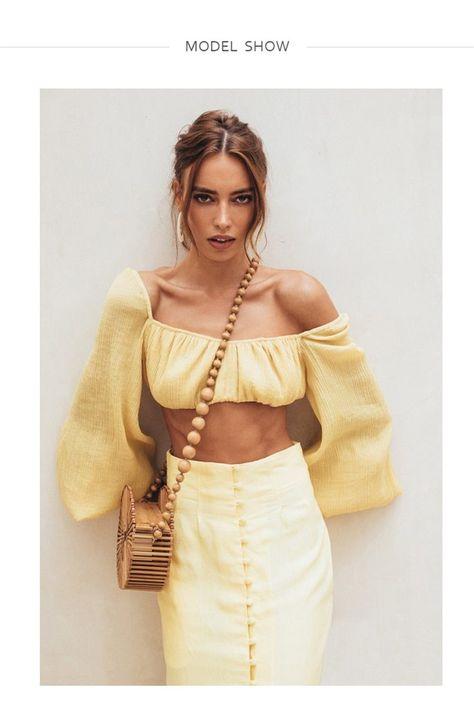 Retro Royal Chic Off Shoulder Boat Neck Ladies Bra Blouse - Yellow / M