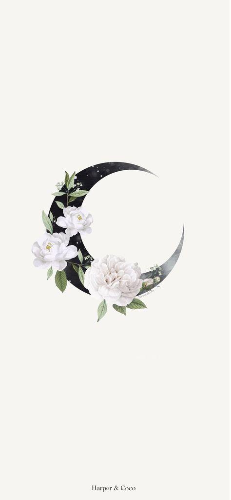 Moon wall art |Celestial poster |Bohemian poster |Beige black wall art |Moon floral | Flowers Art| I