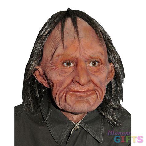 Mens Creepy Old Man Wrinkled Overhead Latex Fancy Dress Mask New Scary Halloween