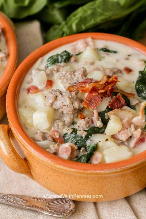 Zuppa Toscana is quick and easy to make at home and delicious! Loaded with sausage, potatoes and bacon, this is definitely a crowd pleaser! #spendwithpennies #zuppatoscana #easysoup #creamysoup #withspinach #withpotatoes #withbacon #heartysoup