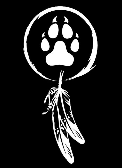 Wolf Paw Tattoos, Tribal Wolf Tattoo, Wolf Tattoo Sleeve, Wolf Tattoo Design, Native American Feather Tattoo, Native American Wolf, Native American Symbols, Eagle Drawing, Wolf Silhouette