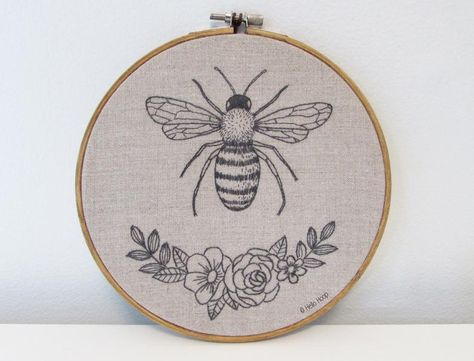 Honey Bee hand embroidery pattern - PDF - Instant download