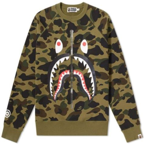 9dd3299f56a8 FOR SALE  100% AUTHENTIC BAPE 1ST CAMO SHARK CREWNECK GREEN BATHING APE