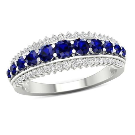 Graduated Blue Sapphire And 1 5 Ct T W Diamond Sunburst Border Triple Row Ring In 10k White Gold White Gold Blue Sapphire Diamond
