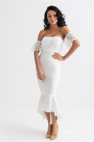 Etek Ucu Volan Ust Gupur Abiye Beyaz The Dress Moda Stilleri Elbise Modelleri