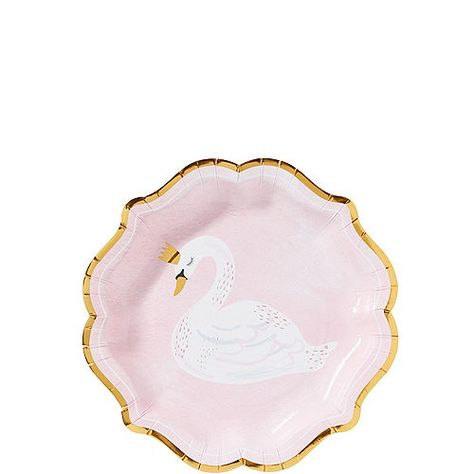 SWAN Princess Party Paper Dinner Plates Birthday Baby Shower Supplies 8 ct