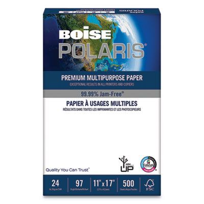 Boise Polaris Premium Multipurpose Paper 97 Bright 24lb 11 X 17 White 500 Sheets Ream 5 Reams Carton Pol2417 Officecrave Com Laser Paper School Application Paper