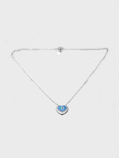 سلسله فضة عيار 925 سلسلة فضة ايطالى بدلاية قلب ازرق Silver Necklace Necklace Pendant Necklace