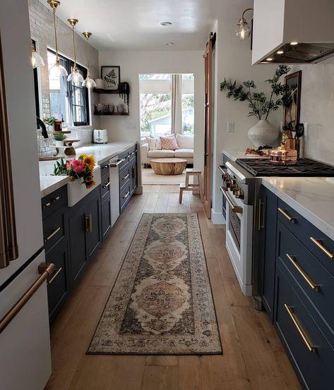 Kitchen Remodel Before & After plus Sources | | | Quartz countertops, farmhouse sink, semihandmade, cafe appliances, wood floors, barn door, dark cabinets, backsplash, hood, custom, french windows, kitchen, pendants, recessed lighting, sconces, oven, stove, copper, brass, delta, open shelving, kitchen shelf, art, online, design, interior design, renovated, remodel, subway tile, runner, rug, galley.