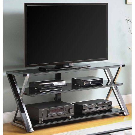 Whalen Black Tv Stand For 65 Flat Panel Tvs With Tempered Glass Shelves Walmart Com Glass Tv Stand Black Glass Tv Stand Black Tv Stand