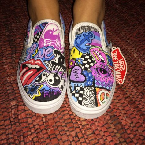 Custom hand painted authentic canvas Vans®. Each shoe is painted with permanent water resistant paints, so they wont bleed or fade. Every pair is unique and made to your specifications. You can choose any images, logos, patterns and colors for your original pair of kicks. Great to show off your