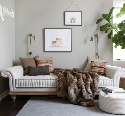 a sophisticated color pallette and grown up daybed make this nursery an easy transition to guest room or big kid room