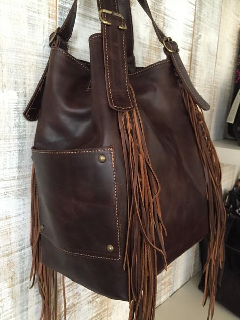 Coffee brown leather bag Fringe purse Hobo bag Dark brown leather bag Shoulder purse Fringed leather purse Tote bag with pockets