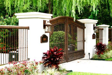 Decor Tips Cool Rod Iron Fence With Columns And Front Gate Also Exterior Wall Lighting House Number Ideas Interior Fence Design Iron Fence Wrought Iron Fences