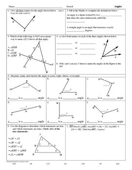 Intro To Angles Worksheet Angles Worksheet Geometry Worksheets Math Practice Worksheets