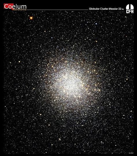 """Globular Cluster M22. It contains over 100,000 stars that formed together and remain gravitationally bound. The cluster orbits the center of the Milky Way. Globular clusters are very old, close to the age of the Universe. (Credit & Copyright: Jean-Charles Cuillandre (CFHT), Hawaiian Starlight, CFHT) Mona Evans, """"Sagittarius the Archer"""" http://www.bellaonline.com/articles/art300844.asp"""