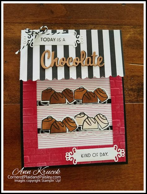 Nothing's Better Than - Stampin' Up! Candy store window card - Stampin' Dreams June Blog Hop Fun Fold Cards, Cool Cards, Folded Cards, Chocolate Card, Printable Recipe Cards, Coffee Cards, Window Cards, Stampin Up Catalog, Stamping Up Cards