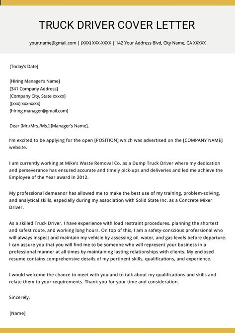 Truck Driver Cover Letter Example & Writing Tips | Resume ...