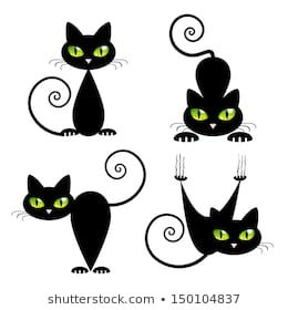 Black Cat With Green Eyes Vector Illustration Black Cat Tattoos Cat Tattoo Designs Black Cat Art