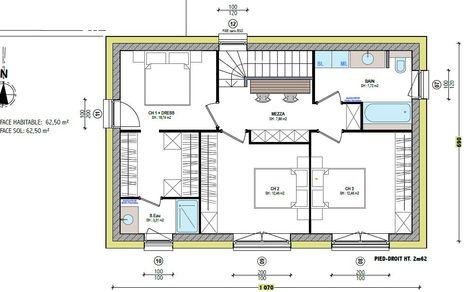 Plan maison neuve à construire - Maisons France Confort City 94 G - plan de maison mitoyenne