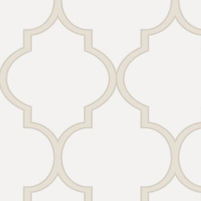 Simple Shapes Moroccan 9 X 24 Wallpaper Panel Color Off White Size 9 L X 24 W In 2020 Moroccan Wallpaper Fabric Wallpaper Peel And Stick Wallpaper