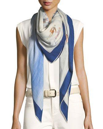 36802297909c Saint Laurent Star-Print Cashmere & Silk Scarf   Products