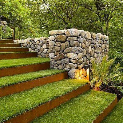 15 Modern Garden Stairs Ideas Bring Perfection Obviously - TheGardenGranny Landscape Steps, Landscape Architecture, Landscape Designs, Architecture Design, Landscape Bricks, Landscape Fountains, Garden Stairs, Design Jardin, Corten Steel