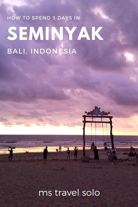 If you have never been to Bali before, you might want to start with a visit to Seminyak as your first stop. It is an excellent introduction to Bali and a central place to use as a home base for visiting other parts of Bali. Check out my blog on how to spend 3 days in Seminyak. And don't forget to pin it on your Pinterest board! #bali #baliindonesia #3daysinseminyak #seminyak #mstravelsolo
