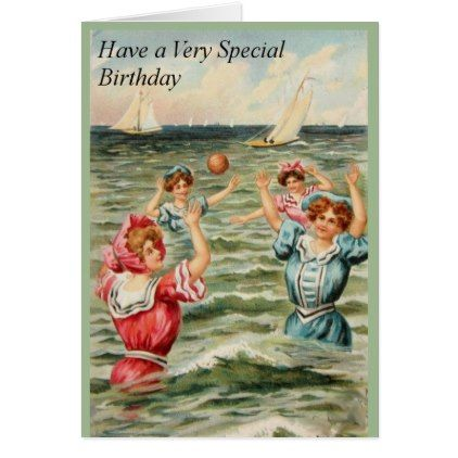 Old Fashioned Beach Bathers Special Birthday Card - #birthday #gifts  #giftideas #present #party | Vintage postcard, Postcard, Water polo
