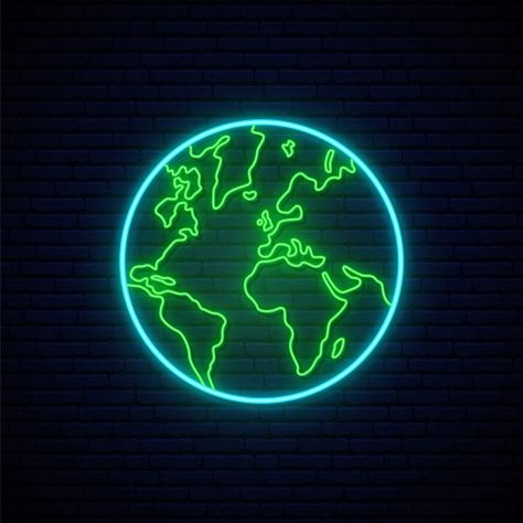 Cool Neon Signs, Neon Light Signs, Led Neon Signs, Neon Light Wallpaper, Purple Wallpaper Iphone, Picsart, Neon Symbol, Map Logo, Earth Logo