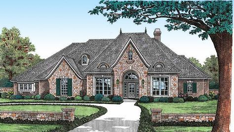 Plan 48020fm Angled Nook Home Plan With Options French Country House Plans European House Plans Country Style House Plans