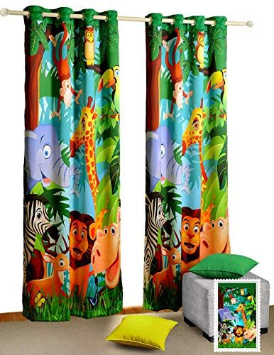 Jungle Animals Window Curtains Set Of 2 Curtain Panels For A