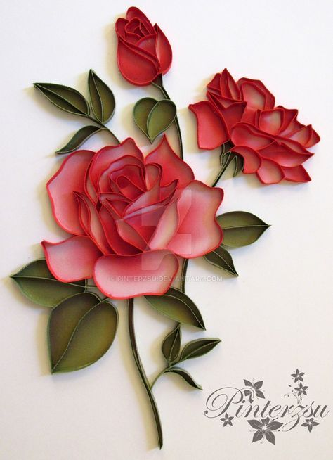 Roses by pinterzsu … Roses of pinterzsu More Bouquet of roses, paper quilling flowers effectQuilling … Video instructions for roses flowerpot.Quilling Roses – Paper Art Flowers – image by Neli Quilling, Ideas Quilling, Quilled Roses, Paper Quilling Flowers, Paper Quilling Patterns, Origami And Quilling, Quilled Paper Art, Quilling Paper Craft, Paper Flowers Diy