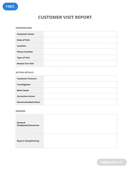 Free Customer Visit Report Report Template Templates