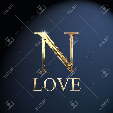 Gold alphabet letter N word love on a blue background Stock Photo - 14052917