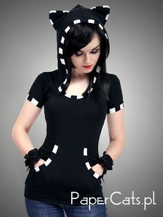 Black Cat Shirt Hoodie stripes ears Kitty kawaii by PaperCatsPL