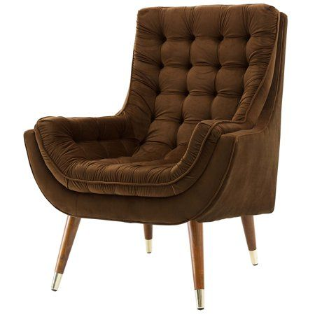 Modern Contemporary Urban Design Living Room Lounge Club Lobby Tufted Accent Chair Velvet Fabric Brown Walmart Com In 2020 Tufted Accent Chair Luxury Chairs Lounge Chair