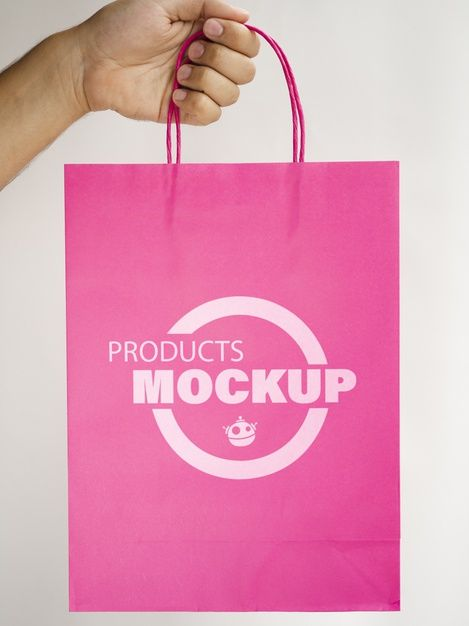 Download Download Person Holding A Pink Paper Bag For Free Pink Paper Free Psd Pink