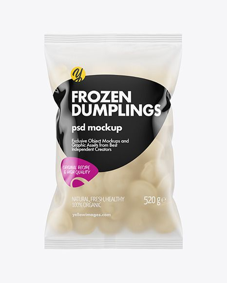 Download Frosted Plastic Bag With Dumplings Mockup In Bag Sack Mockups On Yellow Images Object Mockups Bag Mockup Frozen Pierogies Food Packaging Design