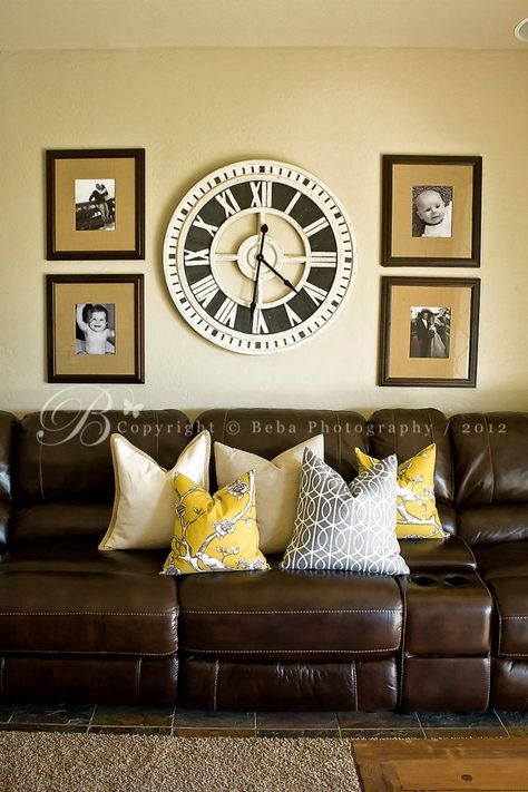 Pin By Bethany Binning On For The Home Brown Living Room Decor Yellow Living Room Leather Couches Living Room