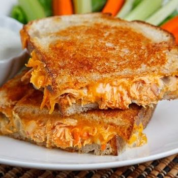 Buffalo Chicken Grilled Cheese Sandwich  When my stomach issues are over, I'm so making this!