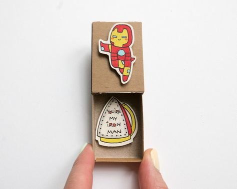 "Iron man Love Card/ Funny Boyfriend Card/ ""You are my Iron Man"" Matchbox"