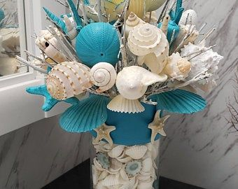 Beach Candle Seashell Cylinder Vase Centerpiece Etsy In 2020 Beach Candle Centerpieces Beach Candle Shell Bouquet