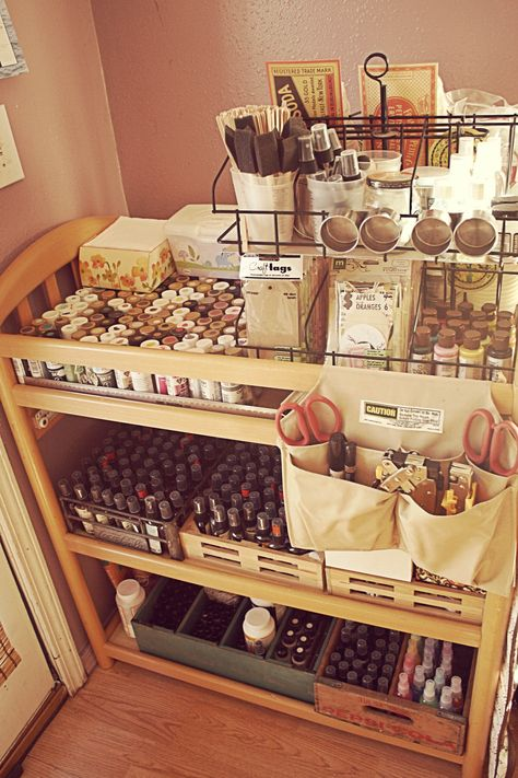 Re-purposed changing table - art supplies storage