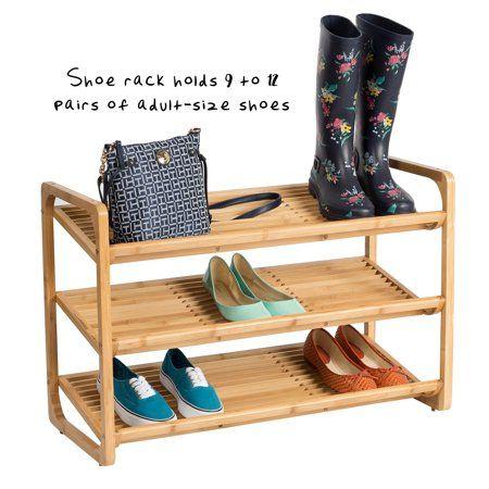 Honey Can Do 3 Tier Moisture Resistant Bamboo Shoe Shelf Brown Walmart Com Wooden Shoe Racks Shoe Shelf Shoe Rack