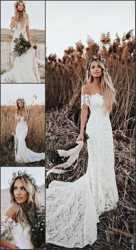 Off the Shoulder Boho Wedding Dress, Mermaid Wedding Dresses, Lace Beach Wedding Dress, Bride Dress #sevenprom #weddingdresses #lace #boho #mermaid #bride #bridedress