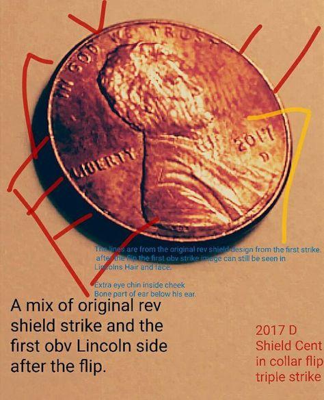 2017 D Shield Cent In Collar Flip Triple Strike Error AU 55