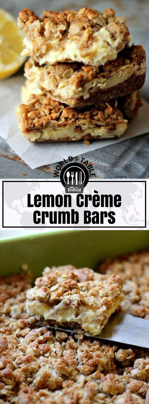 When life gives you lemons ... make lemon bars! Our delightful, Lemon Crème Crumb Bars are filled with a tangy, lightened-up lemon crème filling sandwiched between a crispy whole grain oat crust and a crumbly oat topping.   It doesn't get much better than this for a delicious, warm-weather dessert. #lemon #bars #dessert #oats #crumbtopping #refreshing #healthyswap #picnic #potluck #party #kidfriendly #sweettreat #worldtotable