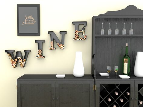 """Wine Letter Cork Holder Art Wall Décor - Metal - All 4 Letters W I N E - Includes Silicone Wine Glass Coaster and """"50 Shades"""" Wine Charm - by HouseVines"""
